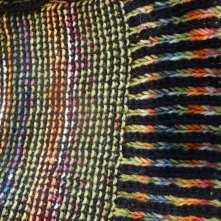 close up of garter stitch and brioche rib