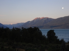 Moonrise over Lake Ohau, alpenglow on Aoraki Mt Cook