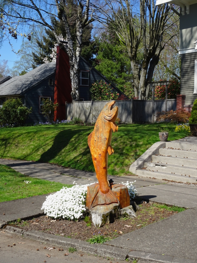 Another salmon carved from a cedar stump
