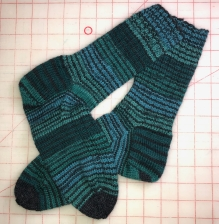 Green Striped socks, Patons Kroy sock yarn