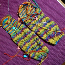 Weaving Socks, pattern by Very Busy Monkey; Knit Picks Stroll yarn.